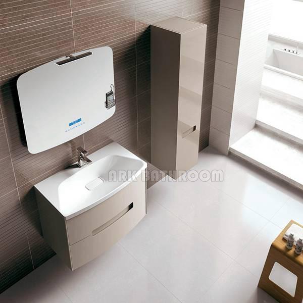 High glossy bathroom furniture pvc bathroom cabinet a5009 for European steel enamel bathtub